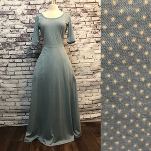 Lularoe Ana Blue Yellow Polka Dot Fit Flare Dress